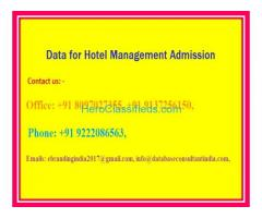 Data for Hotel Management Admission
