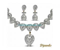 White Gold Droppy Diamond Cass Necklace Set in 14K Hm Gold